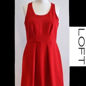 LOFT Sleeveless Red Fit & Flare Dress Pleated